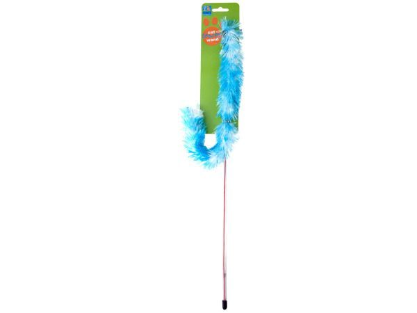 Cat Teaser Wand, 144 - Keep your cat entertained for hours on end with this cat teaser wand. Each wand has a faux feather boa that your cat simply cannot resist. You'll be equally entertained as you watch your pet leap and jump. Comes in assorted colors. Comes packaged on a tie card.-Colors: transparent,green,pink. Material: plastic,synthetic. Weight: 0.1389/unit