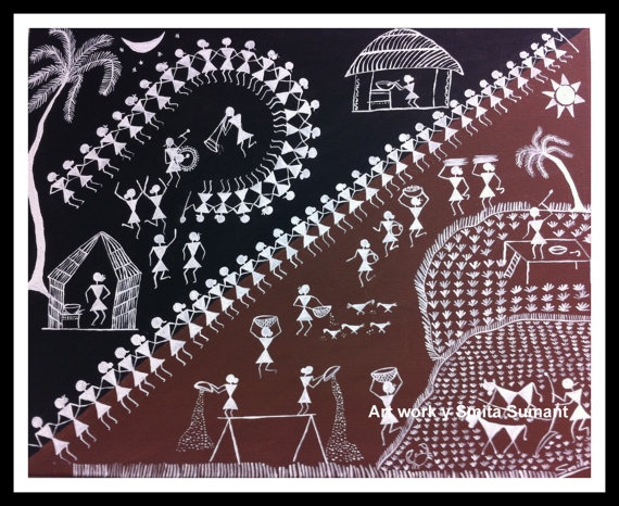 Folk painting/ Warli Day and night/Indian Tribal by OmArtCreations, $75.00