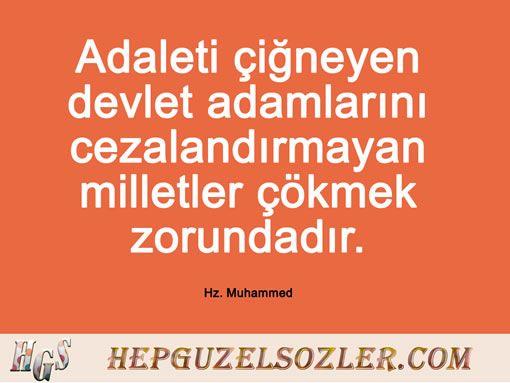 Hz Muhammed'in Adalet Üzerine Sözleri