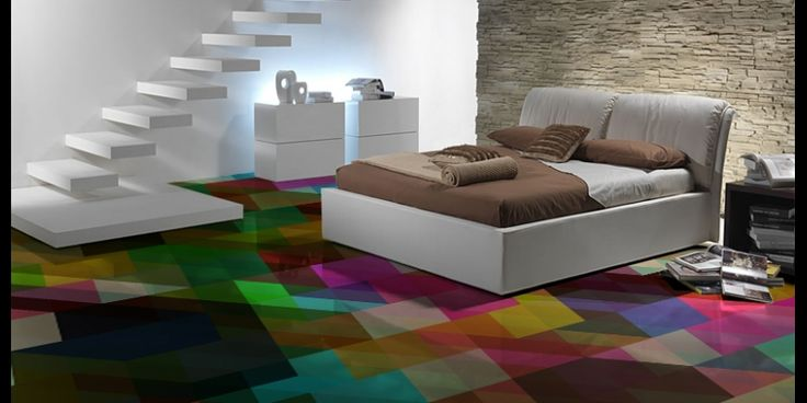 Want this for my kitchen floor multi coloured geometric for Colourful lino flooring