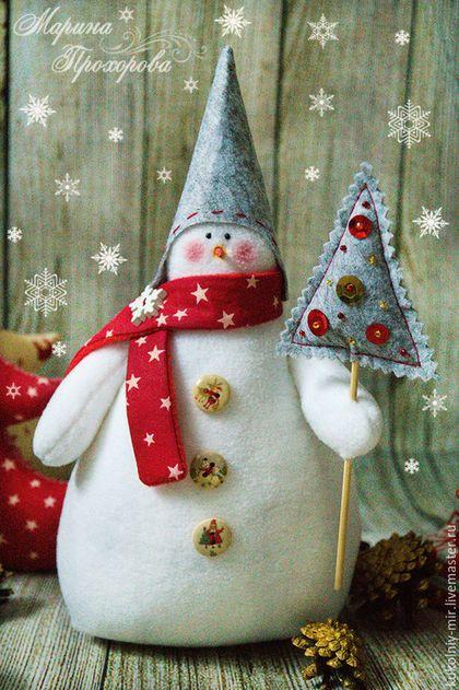 Куклы Тильды ручной работы. Ярмарка Мастеров - ручная работа. Купить Снеговик тильда. Handmade. Ярко-красный, снеговичок, елка