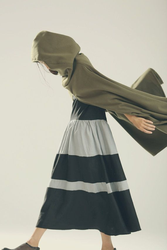 Hooded Wool Coat Jacket Wool Cloak in Green Wool от camelliatune