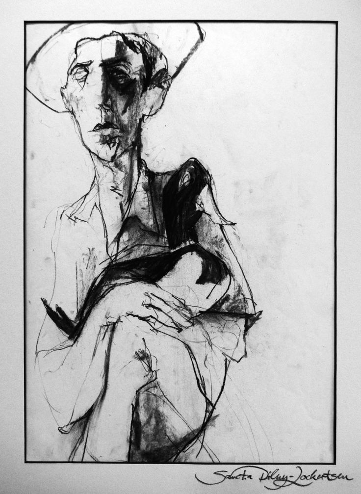 """""""Man With Duck"""", charcoal on paper"""
