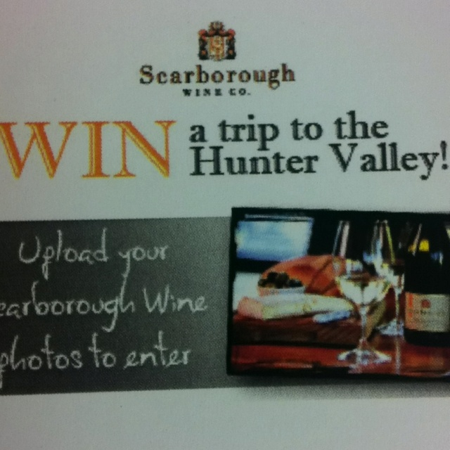 Would you like to WIN a weekend away in the Hunter Valley? Here's an awesome opportunity with this photo comp by Scarborough Wine Co