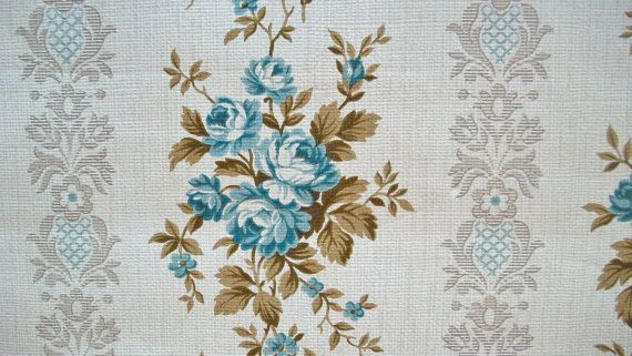 Vintage French 1940s Wallpaper roll Period paper projects Blue Cabbage Roses Ticking. $4.00, via Etsy.
