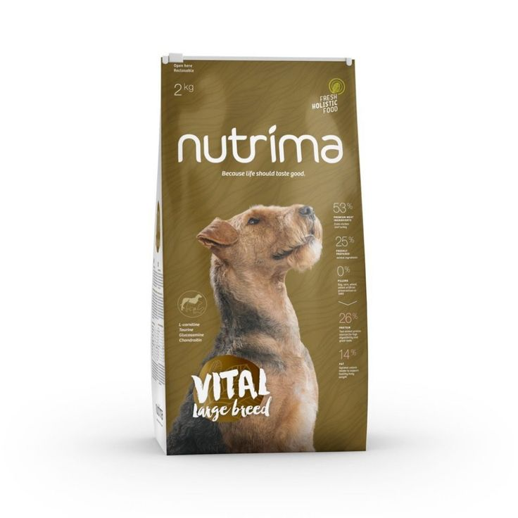 Nutrima Vital Large Breed -koiranruoka isokokoisten aikuisten ja ikääntyvien koirien ravitsemustarpeisiin.