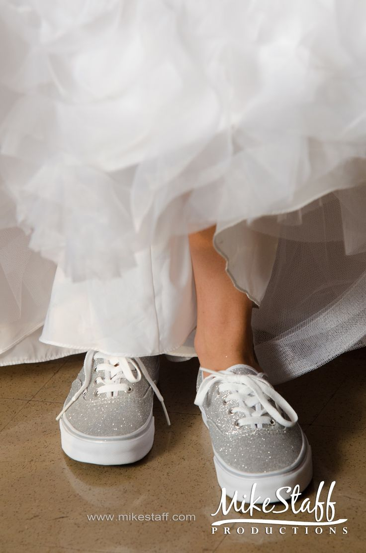 This will be me lol sparkle vans under my wedding dress. :)