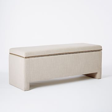 Designer chose this for the Living room bay window; built-in may be nicer?: Nailhead Upholstered Storage Bench #westelm