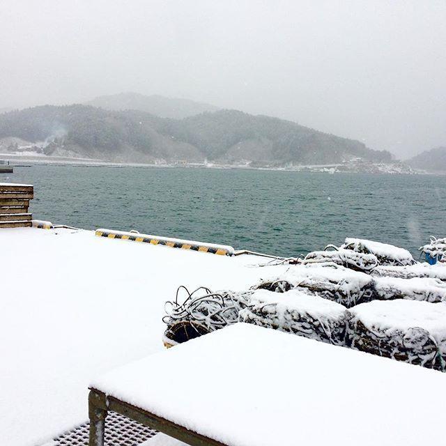 【nerihiko】さんのInstagramをピンしています。 《雪がやまなくて、珍しく積もってる。遠くの山が真っ白。 #マルテン水産 #広田湾 #陸前高田 #小友町 #両替漁港  #牡蠣  #牡蠣養殖 #養殖いかだ #海 #船 #oyster #Rikuzentakata #Hirotabay #instagood #sea #Maruten #雪 #積もってる #視界悪い #寒すぎる》