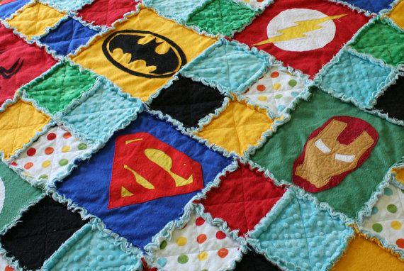 Superhero Rag Quilt / Blanket  Crib Size by handmadebykep on Etsy, $95.00
