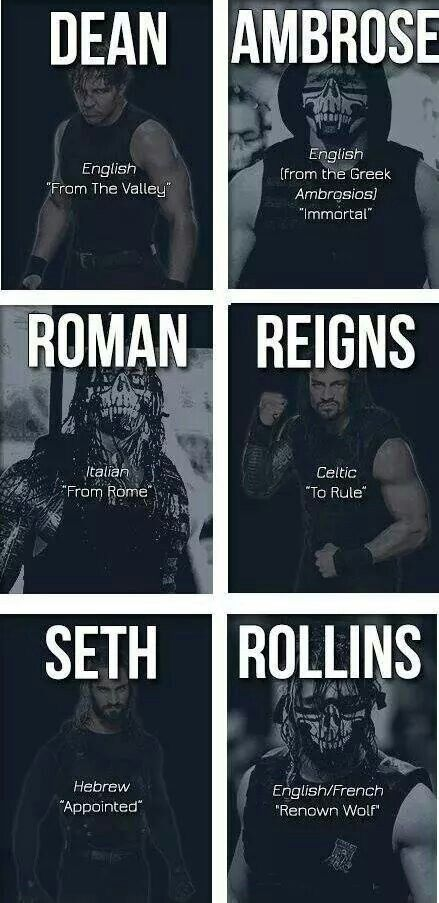 The Shield: Dean Ambrose (U), Roman Reigns (M) and Seth Rollins (L)