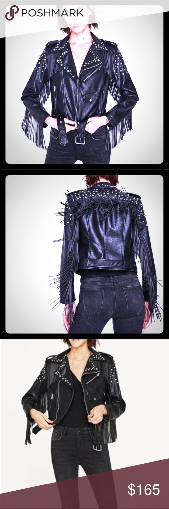 Zara fringed studded leather Moto biker jacket Vegan