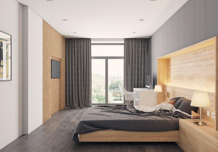 Modern man's bedroom on Behance