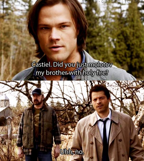 """""""Nobody dicks with Michael, but me."""" can I just say how perfect the Dean=Michael Sam=Lucifer deal was?! Because they portrayed Michael and Lucifer with the same kind of brotherly dickishness Sam and Dean have and it was so cool. I almost wish we could have seen Michael in Dean's meat suit :) (previous pinner caption - left it because it's good!)"""