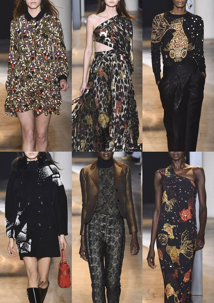 JOHN GALLIANO I Stylised Leaf Prints – Outline Details – Metallic Surfaces – Fish Scale Texture – Characterful Goldfish Placements – Abstract Stiched Work – Geometric Pattern Mixes – Playful Fish Embellishments – Sequin Decoration I PARIS Fashion Week