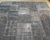 Grey overdyed rug. Turkish patchwork rug.