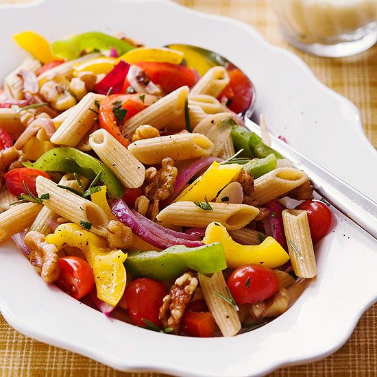 Penne with Walnuts & Peppers (from BHG Low-Sodium recipes)