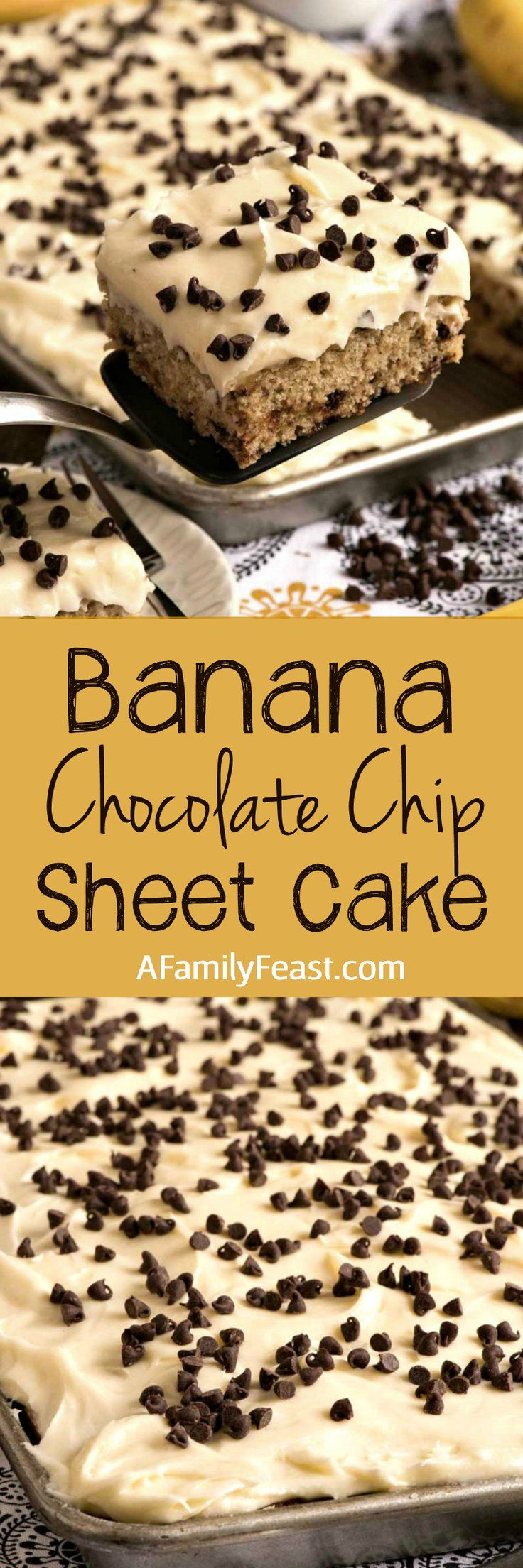 Banana Chocolate Chip Sheet Cake with Cream Cheese Frosting is easy to make and absolutely delicious!