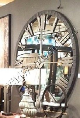 "Mirrored Wall Clock 60""D Round Mirror Roman Numeral Industrial Style Extra Large"