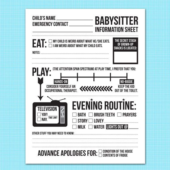 instant downloadable babysitter information sheet by microdesign
