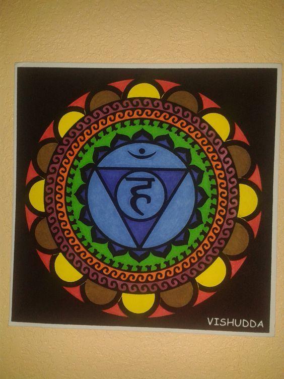 #Mandala quinto #chakra #Vishudda de la #garganta pintado #HOWTO #DIY #artesanía #manualidades #reciclaje