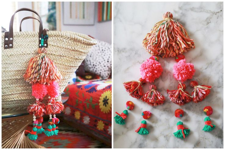 DIY Tassel and Pompom Bag Charm Tutorial by Aunt Peaches for Etsy's Blog.