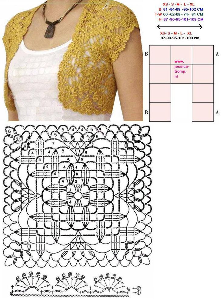Square crocheted shrug - #crochet chart