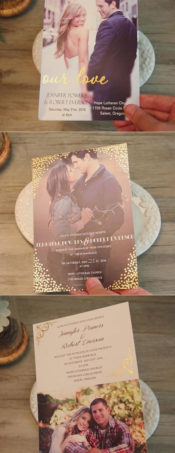 gold foil photo themed romantic wedding invitations