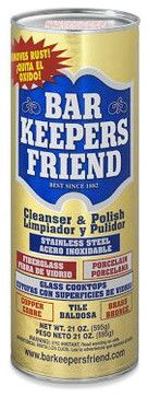 """Bar Keepers Friend traditional cleaning supplies:  """" When it comes to household cleaning supplies, Bar Keepers Friend surpasses all. With over 100 years of experience, this product can clean basically every surface in your house and make to make it look brand new."""""""