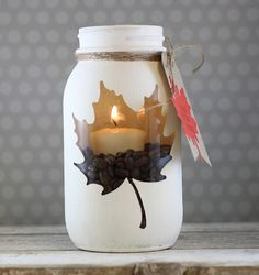 Mason Jar Candle Holder... Enclosed: Leaf Die - cut out the shape with an adhesive sheet from Papertrey Ink, paint the jar, soapbox creations