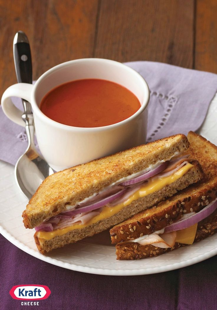 Hearty Grilled Cheese — Smoked turkey and sliced red onion make this ...