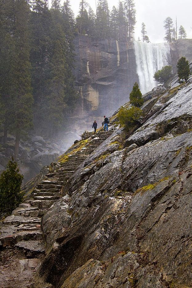 misty trail in yosemite national park