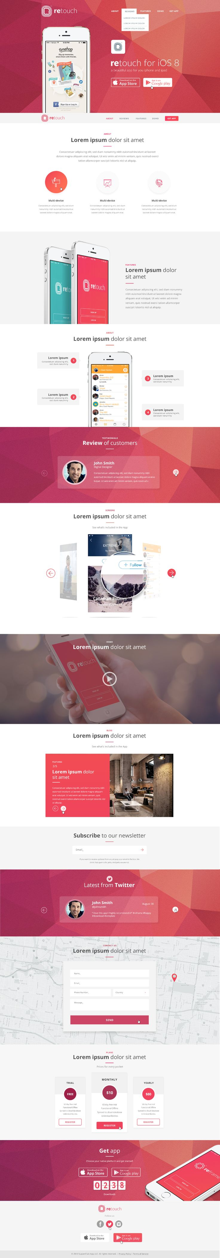 ReTouch - App WordPress Theme on Behance