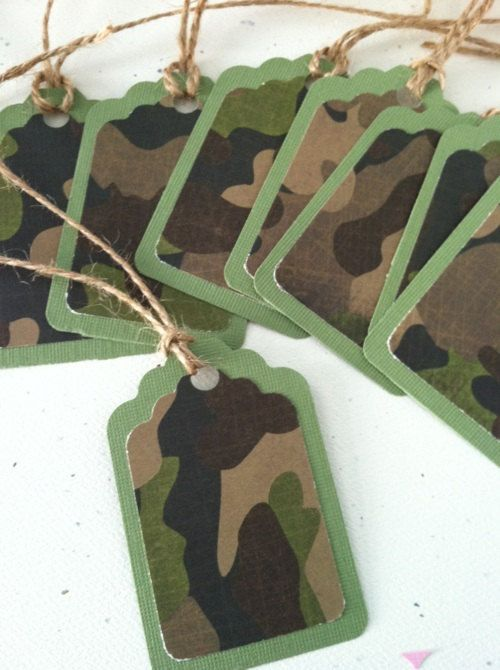 Camoflauge Birthday Gift tags... Set of 12, Boys Military Army fatigue Birthday Theme