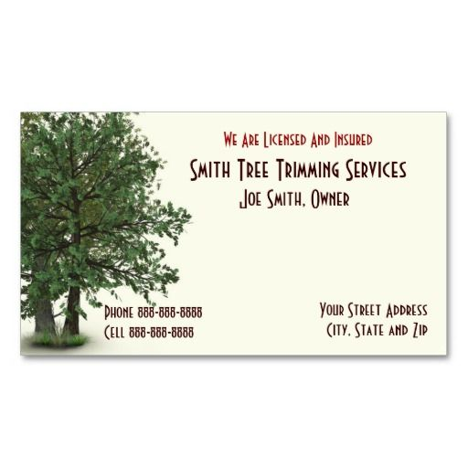Tree trimming care services business card tree trimmer for Tree service business card