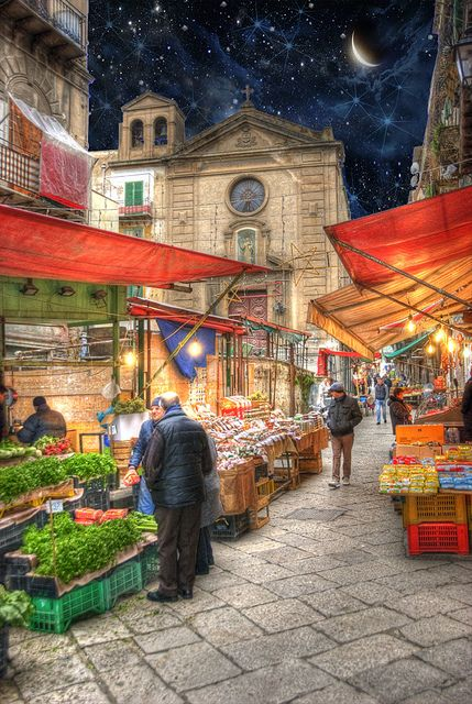 Palermo markets are the most colorful in southern Italy. At these markets, all the bounty of Sicily -- fruits, vegetables, fish -- is elegantly displayed. Love how the markets are tucked in the city's medieval center. Palermo Sicily Market Place by Cat Girl 007, via Flickr