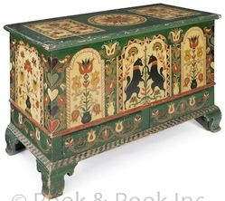 Pennsylvania painted pine dower chest, circa 1800, decorated by David Y. Ellinger (American 1913-2003), signed on lid.