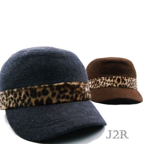Winter Hats for Men Women Leopard Band Military Army Hat Cap Brown & Cadet Blue