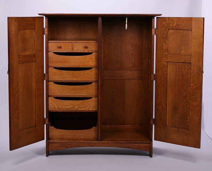 L&JG Stickley Wardrobe Dresser. Signed with branded mark. Original finish. 60″h x 50″w x 23″d
