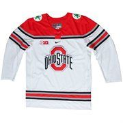 Mens Ohio State Buckeyes White Twill Hockey Jersey