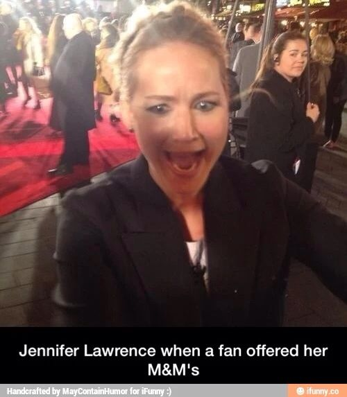 That woman in the back obviously has no clue how jlaw works