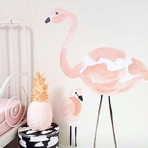 Chambre enfants stickers flamingo note exotiquelampe ananas