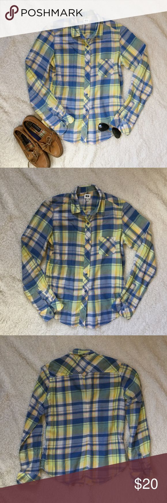 Uniqlo Plaid Flannel Uniqlo yellow and blue plaid flannel. Pink and cream accents. Size XS but runs small   Condition: Gently worn.   ◆If you'd like more pics or have questions, ask! 🚫NO TRADES🚫 Uniqlo Tops Button Down Shirts