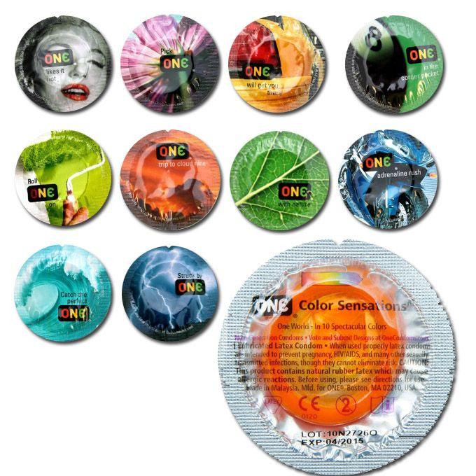 $15 MX One Color Sensation (Unidad) Condón de color - Rojo, violeta, amarillo, negro, verde limón, naranja, verde bandera, azul ultramarino, esmeralda y morado.