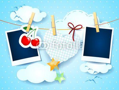 Photo frames and #heart, custom illustration  #vector #stockimage #valentine