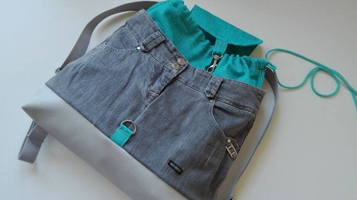 Backpack – upcycled denim, faux leather, canvas. Handmade by Rekaboo.bag