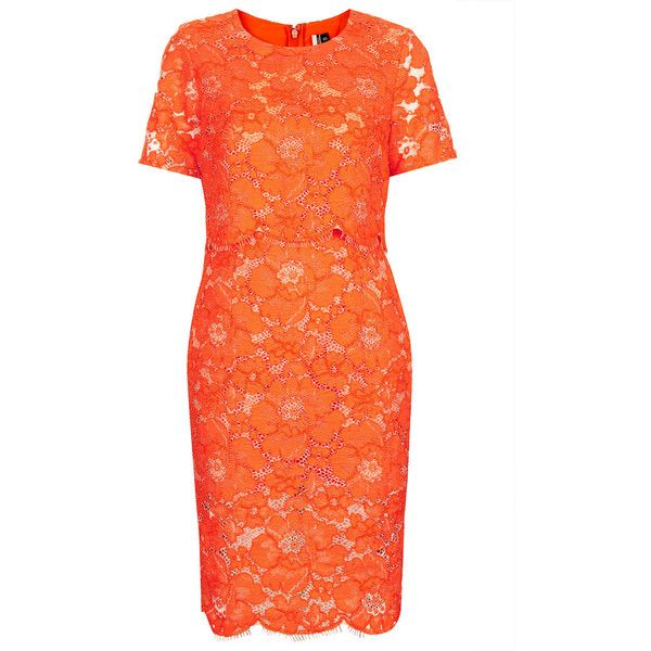 TOPSHOP Premium Lace Pencil Dress (€40) ❤ liked on Polyvore featuring dresses, lace, orange, topshop, red fitted dress, lace dress, orange pencil dress, fitted lace dress and red slit dress