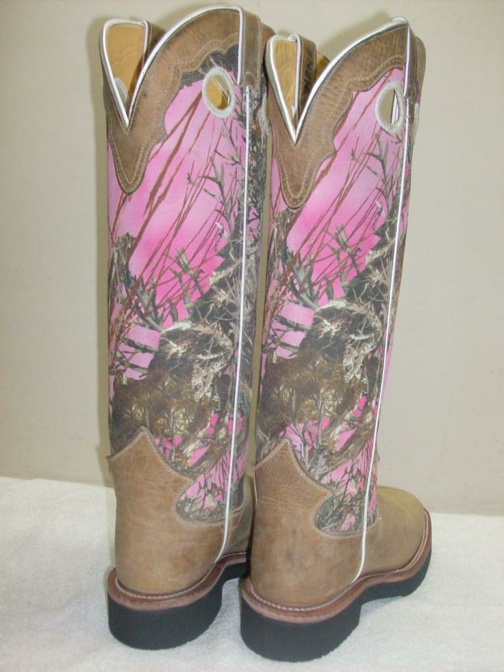 Justin Ladies 10 Distressed Brown W Pink Camo Top Square