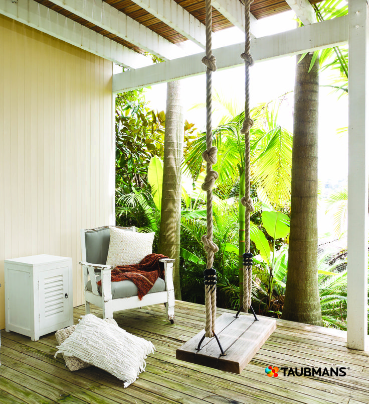 The milky walls and soft timbers make this a balcony to white the day away.  The swing is the perfect accessory for a sense of fun to a simple space. #Taubmans