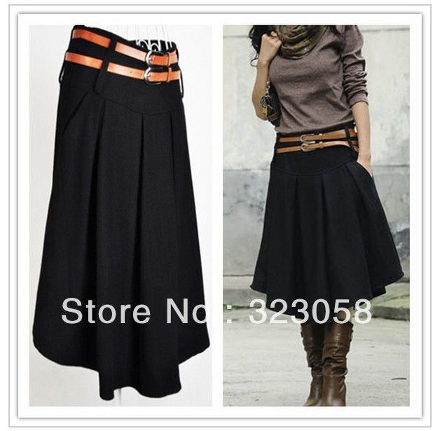 2014 Winter Knee-length Wool Skirt Black,Gray Plus Size( S, M, L, XL, XXL, XXXL,4XL) High Waist Expansion Skirts Women